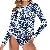 RISTHY Mujeres Traje de Manga Larga Rashguard UV Protección Estampado Camiseta Bañador para Buceo Natación Surf 2...