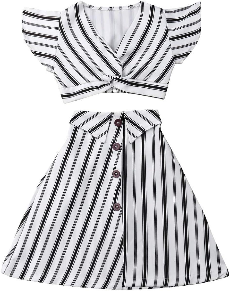 Muasaaluxi Toddler Baby Kid Girls Short Sleeve Striped T-Shirt Crop Top + A-line Skirt Dress Summer Outfits