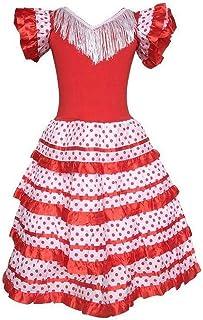 La Senorita La Senorita Spanische Flamenco Kleid/Kostüm - für Mädchen/Kinder - Rot/Weiß - Größe 104-110 - Länge 75 cm - für 5-6 Jahr