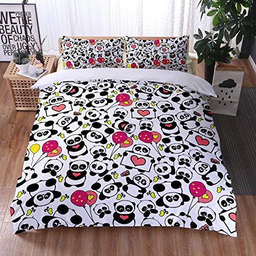 Bedclothes-Blanket Funda nórdica 3D Lila,Caso 3D Impresión Digital Ropa de Cama de Tres Piezas Panda Linda-5_203x228cm