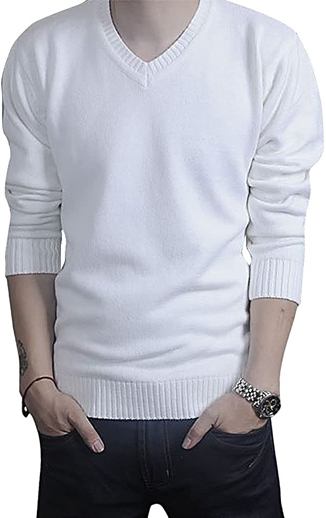 Topaz Men's Casual V Neck Slim Fit Knitted Sweater Thin Plain Pullover