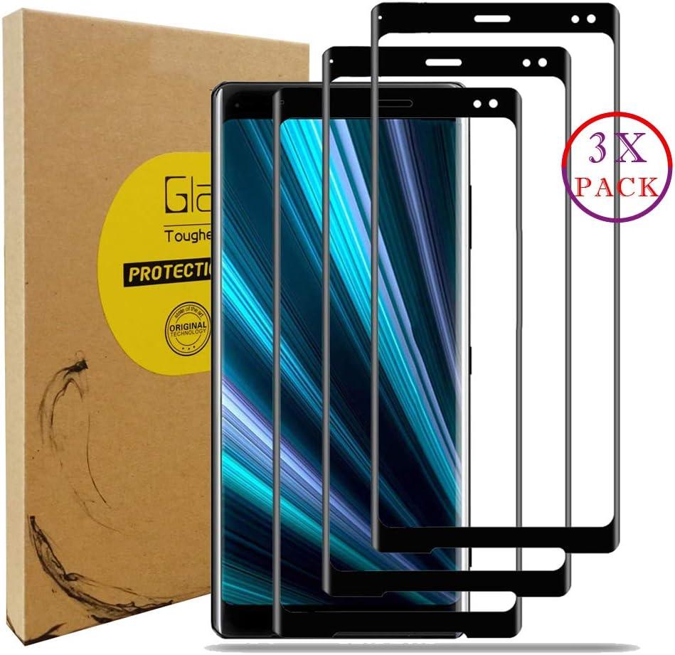 KISCO para Sony Xperia XZ3 Protector de Pantalla,3 Pack Full-Cover Protector Pantalla Cristal Templado para Sony Xperia XZ3-Negro