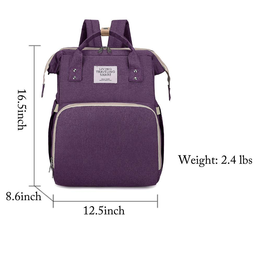 Diaper Bag Backpack with Auto Folding Crib, Portable 3 in 1 Diaper Bag Backpack,Large Capacity Waterproof Backpack with USB Port,Used for Father,Mother and Baby (Purple)