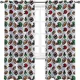 Rideau de football américain isolé, style dessin animé, icônes de rugby, balles de culture, jeux de compétition, sports de compétition, 2 panneaux par groupe 213 x 248 cm, multicolore