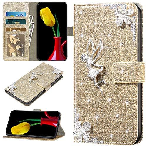 URFEDA Kompatibel mit iPhone 12/12 Pro Handyhülle Leder Handytasche,Bunt Glitzer Bling Glänzend Diamant Strass Blumen Engel Muster Schutzhülle Brieftasche Klapphülle Lederhülle Flip Case,Gold