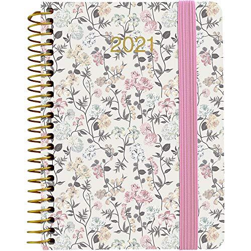 Grafoplás 70343506. Agenda Anual con Espiral 2021, A6, Semana Vista, Modelo Flores Pastel, Serie Natura, Tapa Dura, Acabado Soft
