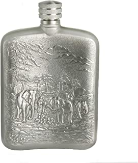 Oriental Pewter - Pewter Flask- Tin Hip Flask & Funnel Set - Hand Carved Beautiful Embossed Pure Tin 97% Lead-Free Pewter Handmade in Thailand