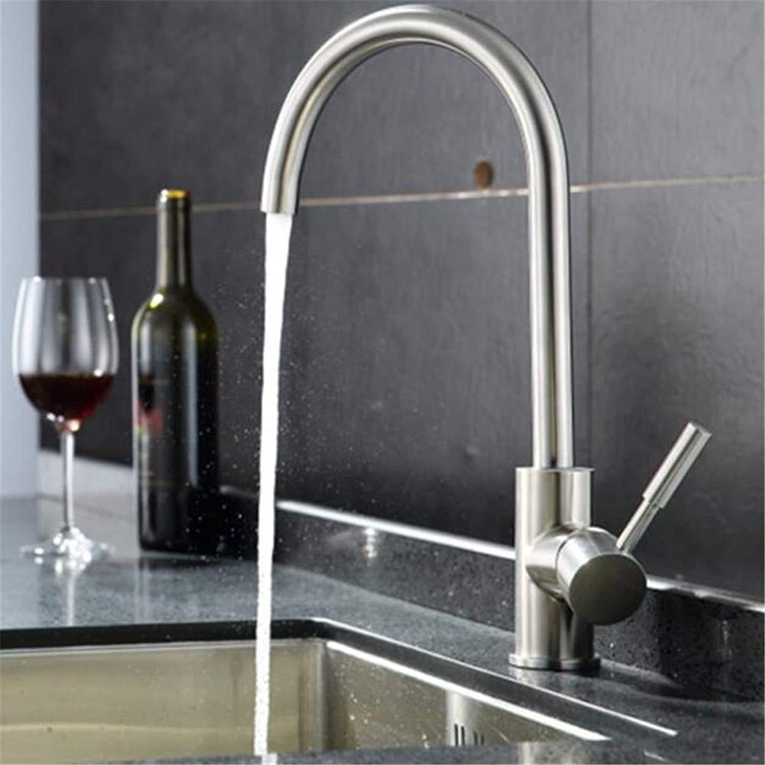 FuweiEncore Stainless Steel redary Mixer Kitchen Faucet Caipen Lead Drink Straight Stainless Steel Kitchen Faucet 304 (color   -, Size   -)