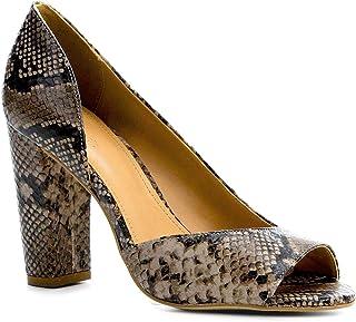 Peep Toe Couro Shoestock Salto Alto Snake
