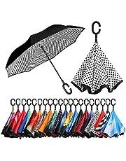 [Amazonブランド] Eono(イオーノ) ダブル レイヤー 反転 傘 リバース 折り 傘 セルフ スタンディング 防風 UV 保護 トラベル 傘 車 雨 と アウトドア用 C シェイプ ハンドル ズ ホワイト ドット