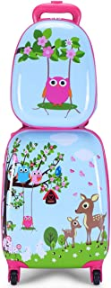 """WCK 2 Pcs Carry On Luggage for Kids, 12"""" & 18"""" Kids Suitcase with 4 Spinner Wheels,Lightweight Rolling Trolley Luggage Set..."""