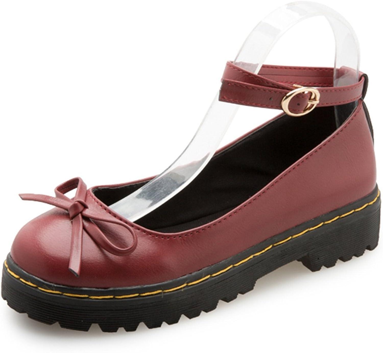 Feilongzaitianba Bowtie Summer Women Flats Casual Round Toe Vintage Ankle Strap Platform shoes
