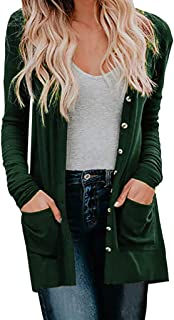 Cardigan Womens QUINTRA Ladies Autumn Winter Solid Color Jacket Pocket Stitching Cardigan Coat Long Sleeve Button Top Ladi...