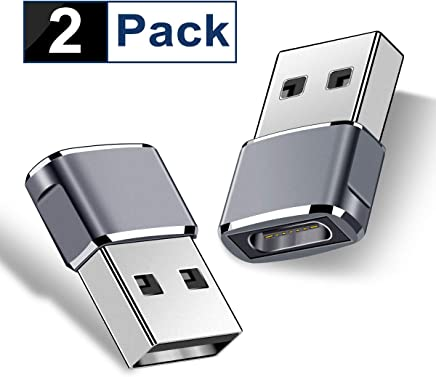 USB C Female to USB Male Adapter (Upgraded Version) (2-Packs), Basesailor Type C to USB A Adapter, Compatible with Laptops, Power Banks, Chargers, and More Devices with Standard USB A Ports (Gray)