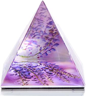 HANUR K9Crystal Wisterias Flowers Pyramid Triangle Cone Handmade Paperweight Office Home Supply Decor 2''