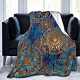 Icemaris Persian Based On Traditional Asian Paisley Monochrome India Blanket Soft Throw Lightweight Blanket for Travel Home Airplane 80' X60