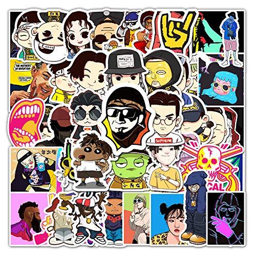 AXHZL Hip-Hop Música Personaje de Dibujos Animados Graffiti Pegatina Maleta Laptop Motocicleta Pegatina Decorativa 50 Uds