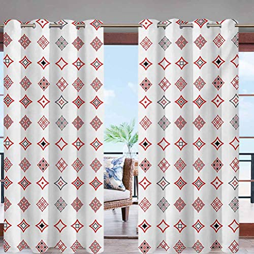 Outdoor Curtain UV Privacy Drape Thick Waterproof Fabric Diamond Shaped Geometric Figure W96 x L96 Grommet for Porch Balcony Pergola Lanai Tent Gazebo Window