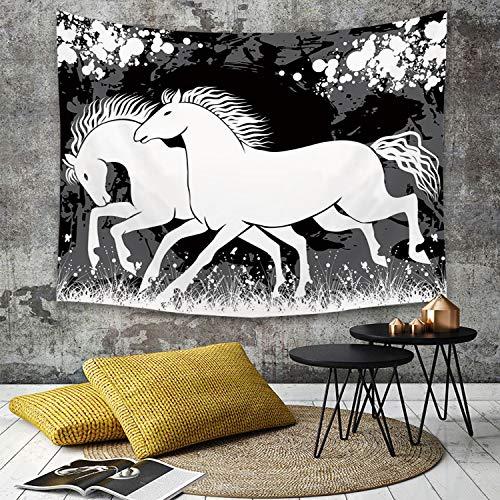Yaoni Tapestry Pared paño Mantel Toalla de Playa,Decoración Moderna, antigüedad Romana Gladiator Dos Caballos de Raza con Imagen de Marca,Decoraciones para el hogar para la Sala de Estar Dormitorio