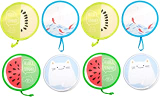 MIAO JIN 8 Pcs Unique Summer Accessory Foldable Round Handheld Folding Fans Cartoon Handheld Fan with Pocket