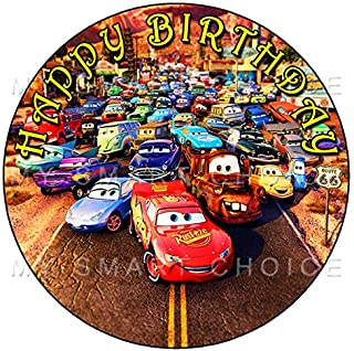7.5 Inch Edible Cake Toppers – Cars Themed Birthday Party Collection of Edible Cake Decorations