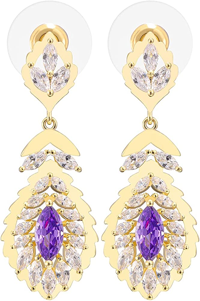 14K Gold Plated Cubic Zirconia Inlaid with Multi Crystal Drop Shaped Clip Earrings