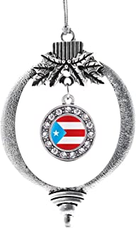 Inspired Silver - Puerto Rico Flag Charm Ornament - Silver Circle Charm Holiday Ornaments with Cubic Zirconia Jewelry