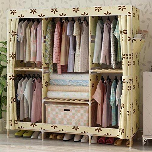 LyMei Stoffschränke, Solid Wardrobe Storage Einfache Montage Kleiderschrank Oxford Wood Reinforced Folding Cloth Kleiderschrank Waschbar Stoffbezug,B_150*46 * 170CM