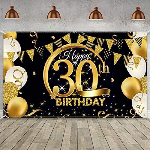 30 Cumpleaños Decoraciones para Fiesta Arte de Pared de 30 Cumpleaños Fondo de Feliz Cumpleaños Suministros para Fiestas para Hombres y Mujeres (Oro Negro)