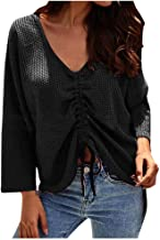 Aunimeifly Autumn Solid Color Ladies Long Sleeve Blouse Women's Stylish V-Neck Tops Retractable Belt Irregular Top Shirts