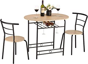 kealive 3 Piece Compact Dining Set with Wood Top and Metal Frame for Kitchen Home Modern Furniture,Table and Chair with 2 Chairs for Breakfast, Dining Room Table Set with Shelf Storage, Wood Grain