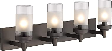 Emliviar 4-Light Vanity Lights, Bathroom Light Fixtures in Oil Rubbed Bronze Finish with Clear Frosted Glass Shade, JE1982-4W