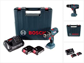Bosch Professional GSR 18 V-21 - Taladro atornillador inalámbrico (incluye 2 baterías GBA de 2,0 Ah y cargador GAX 18V-30 en maletín)