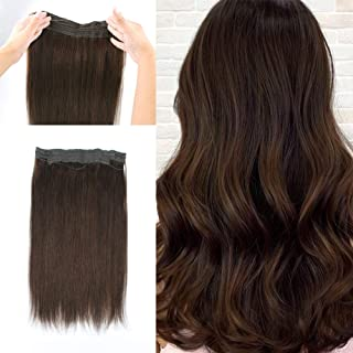 Lovrio 20 inch 120g Halo Human Hair Extensions Color Walnut Brown, Invisible Wire Crown Hair Pieces For Women Fish line Hair