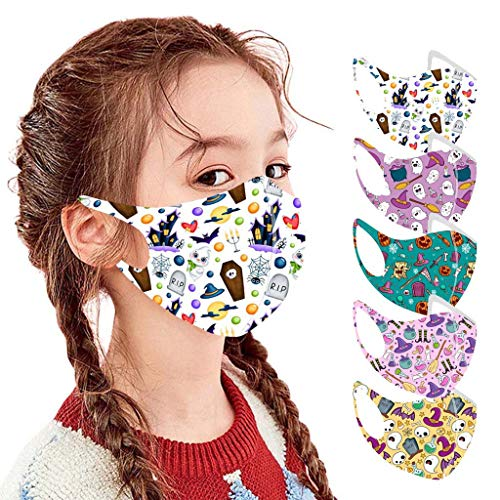 God's pens 5PC Kids Reusable Halloween Face Bandanas Boys Girls Washable Cloth Face_Mask Breathable Mouth Protection School Outdoors