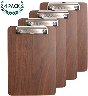 Bearda Standard A4 Clipboard - Premium Sturdy Fiberboard with Wood Grain Surface, Low Profile Durable Legal Letter Size with Hanging Hook, File Clip, Best for Office Classroom Business (4 Pack)