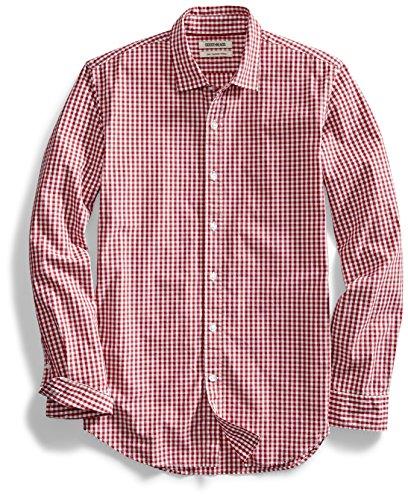 Amazon Brand - Goodthreads Men's Slim-Fit Long-Sleeve Gingham Plaid Poplin Shirt, Red/White, Large