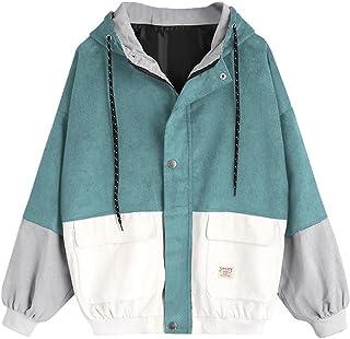 Muranba Women Long Sleeve Corduroy Oversize Jacket Windbreaker Coat Overcoat
