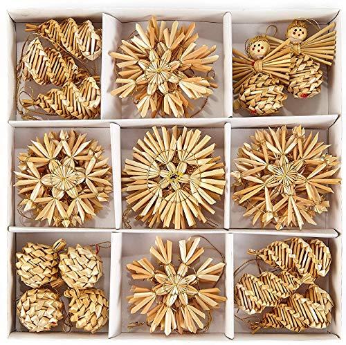 HEITMANN DECO Navidad - Juego de 32 Adornos de Paja - Adornos de Paja para el árbol de Navidad - Adornos para el árbol de Navidad de Material Natural
