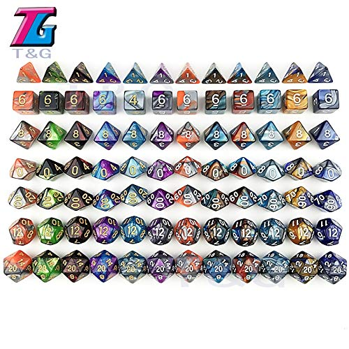 KAKDA,7PCS/ Set RPG Dungeons and Dragons Board Game DND Two Color Special Dice Sets Tabletop for Entertainment - (Color: 17)