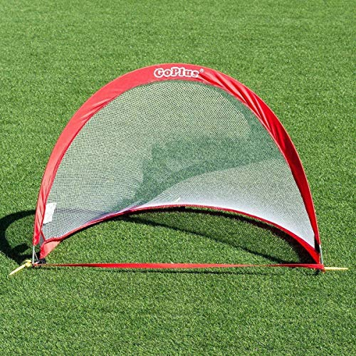 Goplus Pop Up Goals, Set of 2 Foldable Soccer Goal Training Football Net for Kids and Adult w/Carrying Bag (2.5 Feet)