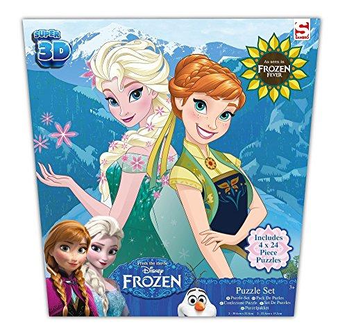 Puzzle 3D Disney La Reine des Neiges - Puzzle 4 x 24 pièces - Sélection de 4 puzzle mignons et tendances
