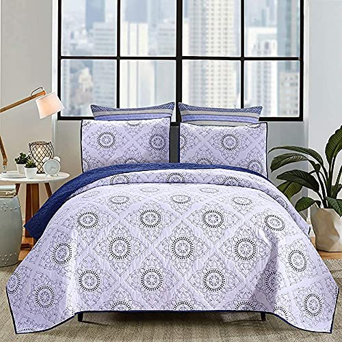 cvhtroe Geometric Pattern Embroidered Quilted Bedspreads Soft Cotton Reversible Comforter,Includes 2 Pillowcases,Double Size,224 * 234cm