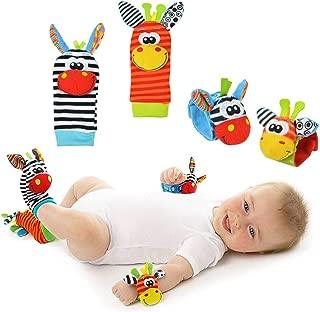 Wakerda Calcetines y Muñeca para Bebé,Sonajeros incorporados,Baby Wrist Socks Rattles Toy,Adecuado para bebé 0-6 Meses, Sonajeros incorporados -4pcs