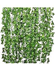 YQing 12 Stukken Kunstmatige Klimop Guirlande, klimop Wijnstokken Planten Ivy Garland Bruiloft Home Keuken Tuin Kantoor Bruiloft Muurdecoratie
