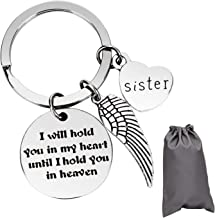"""AIEX Best Friend Gift Keychain Stainless Steel Sister Keychain Stocking Stuffers for Women Teens Girls Birthday Gifts Graduation Gifts Xmas Gifts, """"I Will Hold You in My Heart Until I Hold You"""