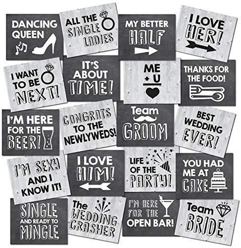 UP THE MOMENT Wedding Photo Booth Props - 20 Designs  8x10  Double Sided  Photo Booth Props Wedding  Wedding Photo Booth  Wedding Props Photo Booth Signs  Wedding Props