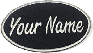Lan Stang Custom Embroidered Name Patch Uniform Name Tag Personalized Label Iron On Sew On 2x4 inches (Black-Oval)