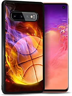 for Samsung S10+, Galaxy S10 Plus, Durable Protective Soft Back Case Phone Cover, NiceTEK HOT12094 Flame Basketball 12094