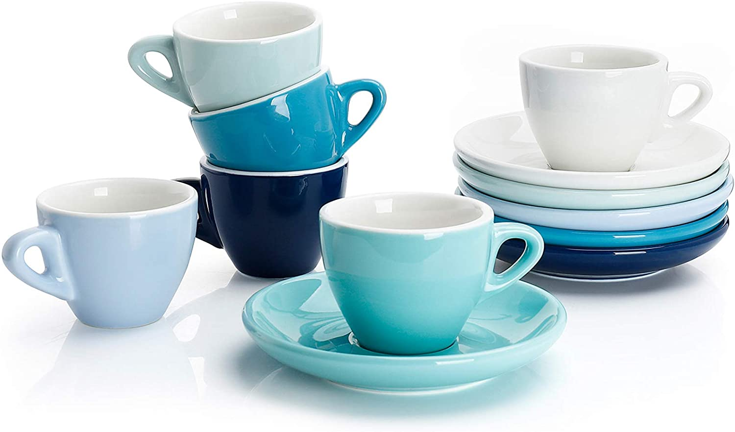 Amazon.com | Sweese 401.003 Porcelain Espresso Cups with Saucers - 2 Ounce - Set of 6, Cool Assorted Colors: Dining & Entertaining